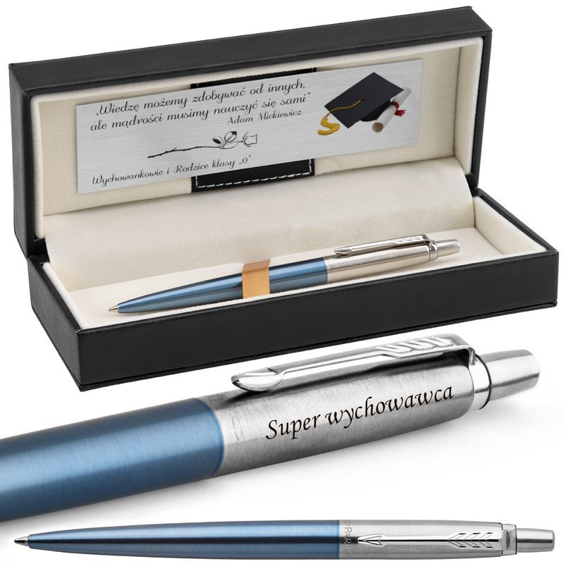 Długopis Parker Jotter stalowy CT Waterloo Blue Grawer Dedykacja