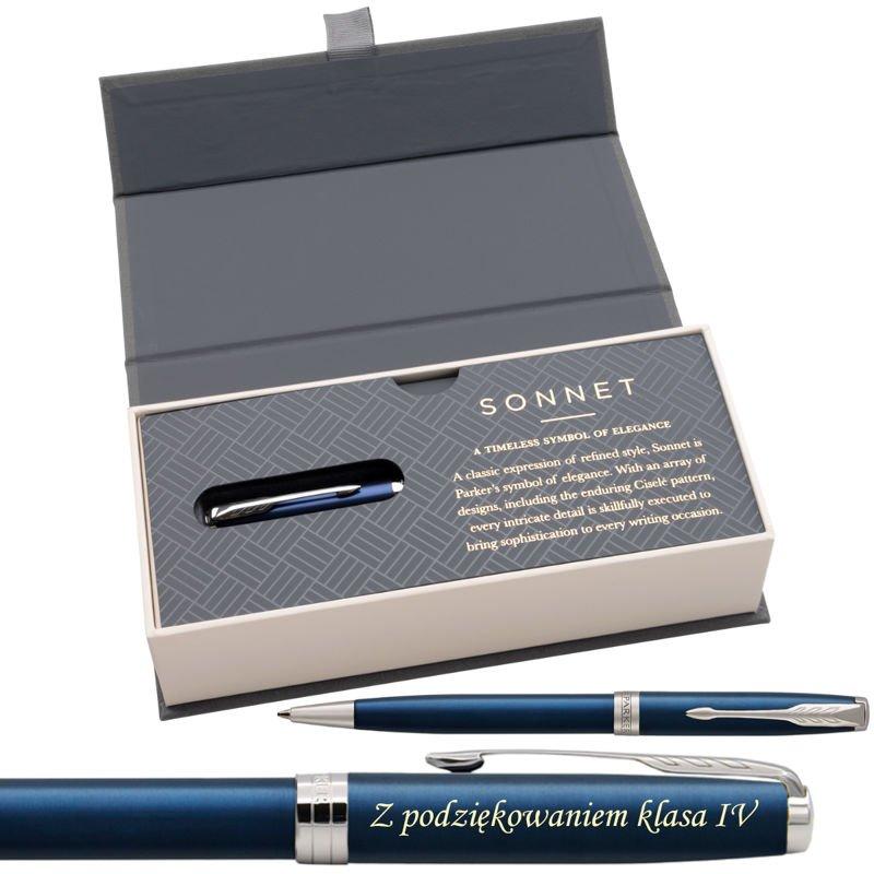 Parker Sonnet CT Długopis Blue Lacquer w eleganckim etui Grawer
