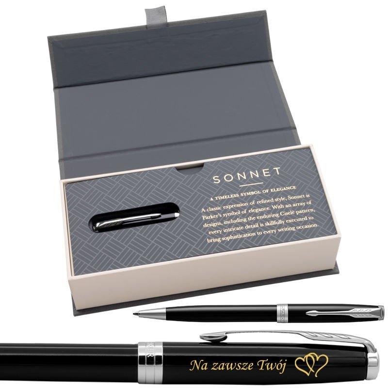 Parker Sonnet CT Długopis Czarny Lacquer w eleganckim etui Grawer