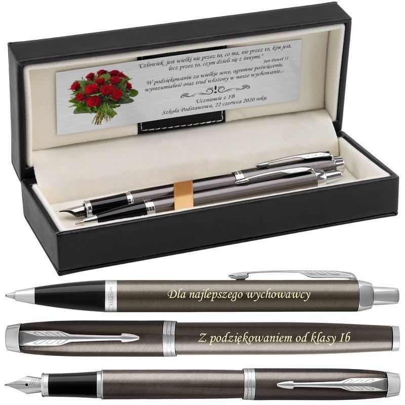 Zestaw Parker IM Długopis Pióro Dark Espresso CT Grawer