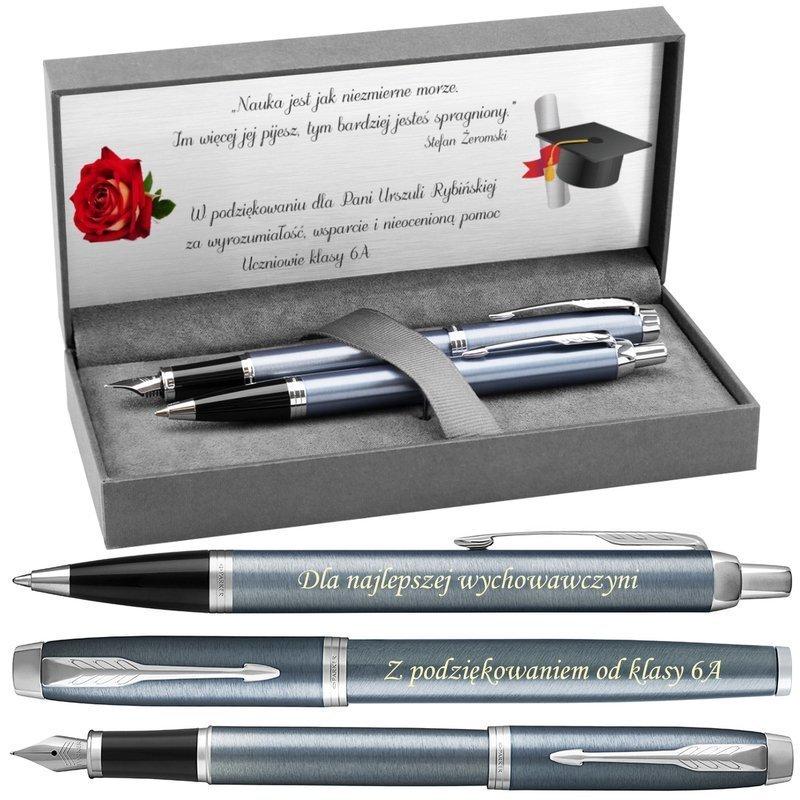 Zestaw Parker IM Pióro + Długopis Blue Grey CT z Grawerem