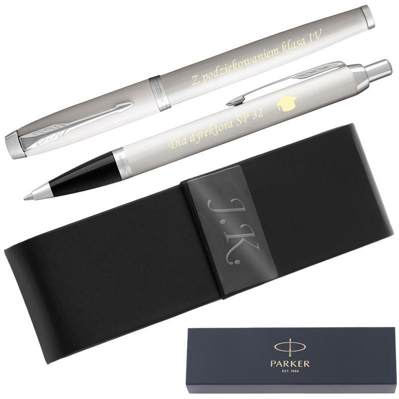 Zestaw Parker IM Pióro Wieczne + Długopis Białe CT + Etui Grawer