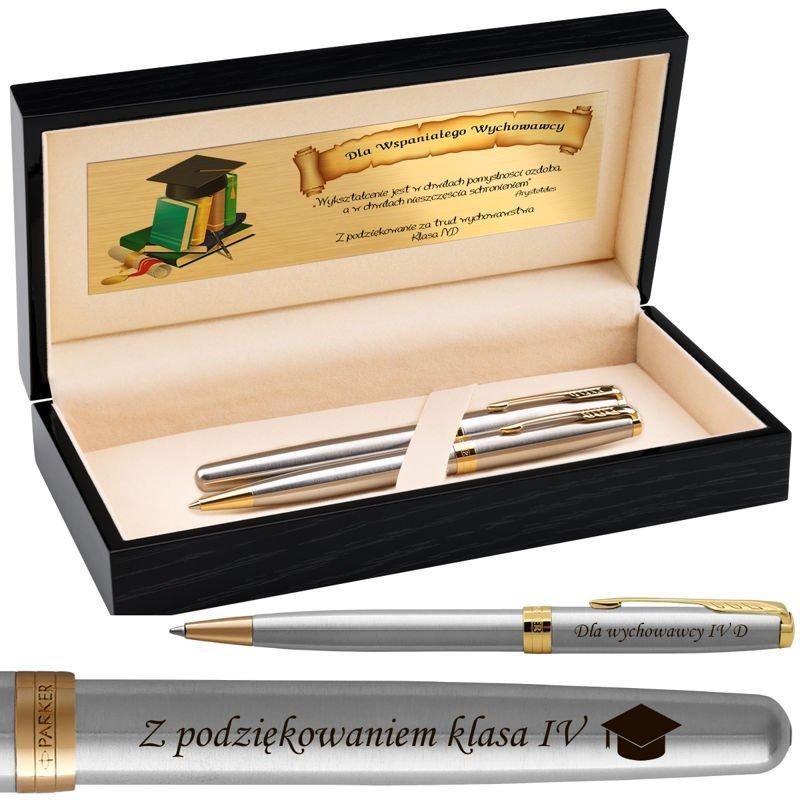 Zestaw Parker Sonnet GT Pióro + Długopis Stainless Steel w drewnianym pudełku Grawer