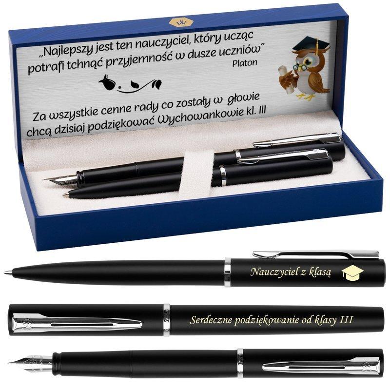 Zestaw Pióro Długopis Waterman Allure Czarne CT z Grawerem