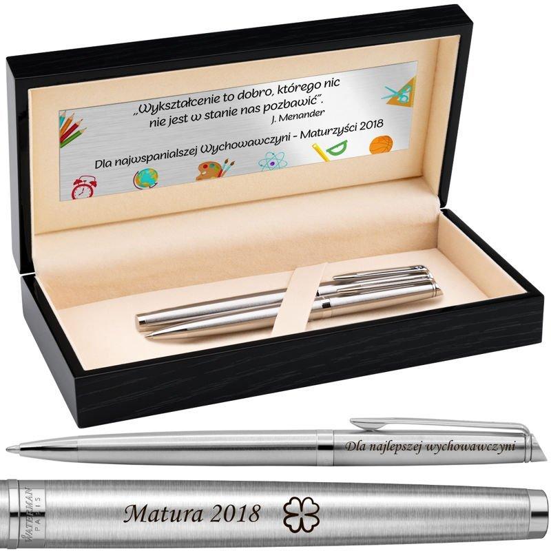 Zestaw Pióro + Długopis Waterman Hemisphere stalowy CT z Grawerem w drewnianym pudełku