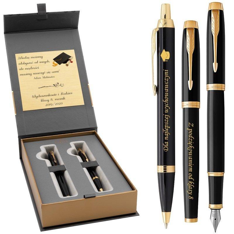 Zestaw Pióro Wieczne Długopis Parker IM Black GT z Grawerem