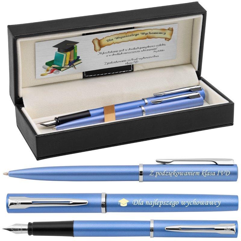 Zestaw Pióro wieczne Długopis Waterman Allure niebieskie CT Etui z Grawerem