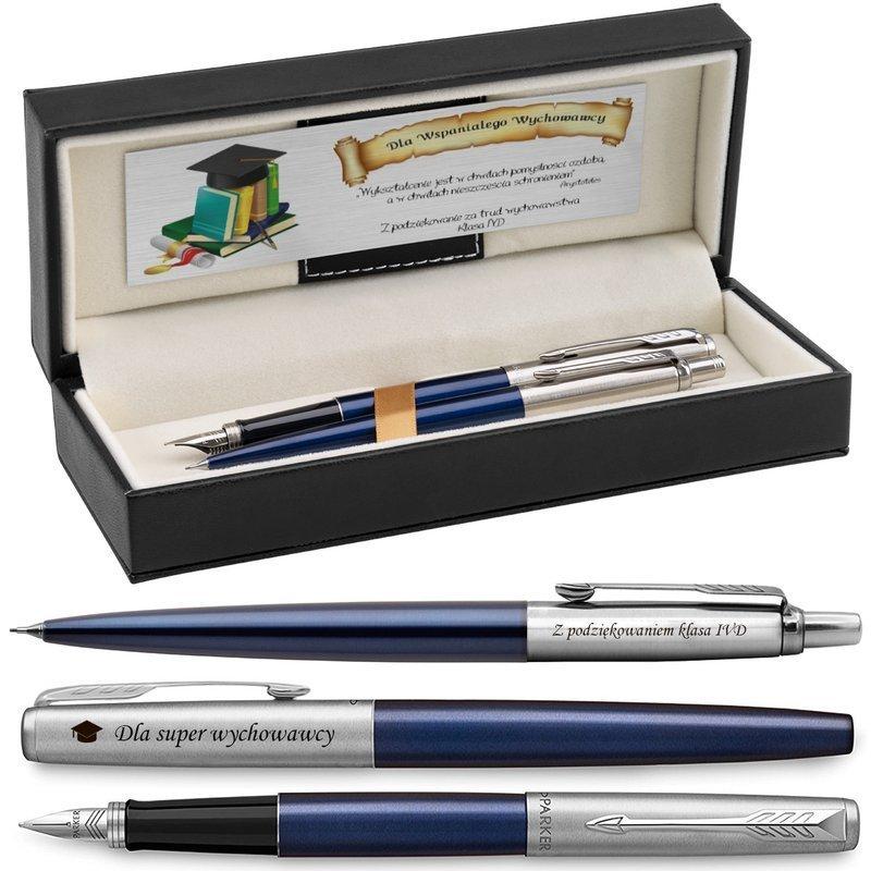 Zestaw Pióro wieczne Ołówek Jotter Parker Royal Granatowy CT z Grawerem