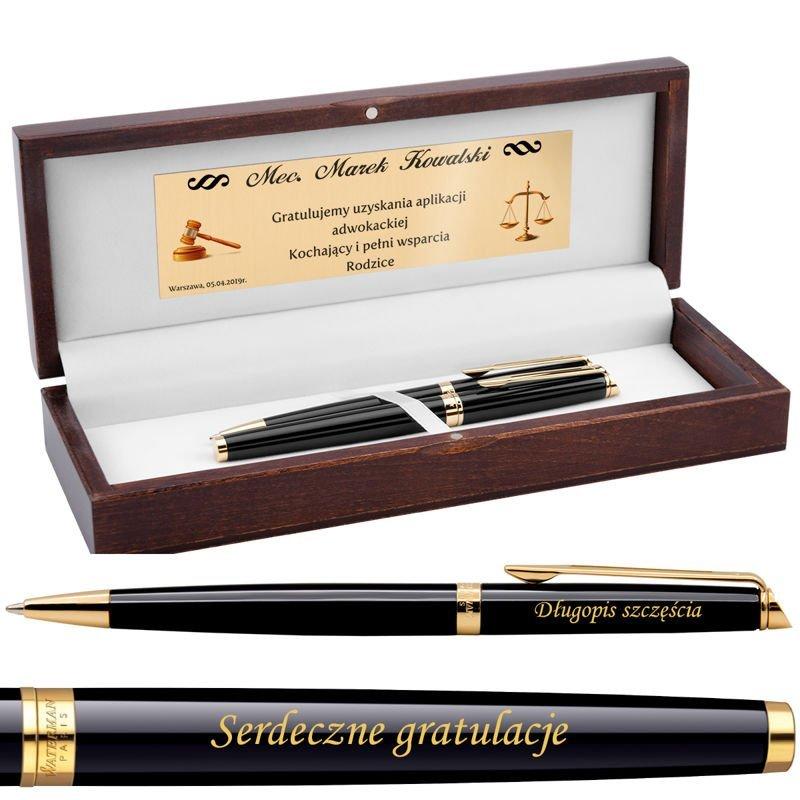 Zestaw Pióro wieczne i Długopis Waterman Hemisphere Czarny GT Grawer