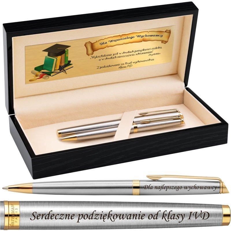 Zestaw Pióro wieczne i Długopis Waterman Hemisphere stalowy GT Grawer Drewniane pudełko