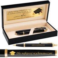 Zestaw Parker IM Pióro Wieczne + Długopis Black GT Grawer
