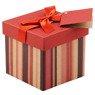 Pudełko na prezent bordowe w paski XS 1